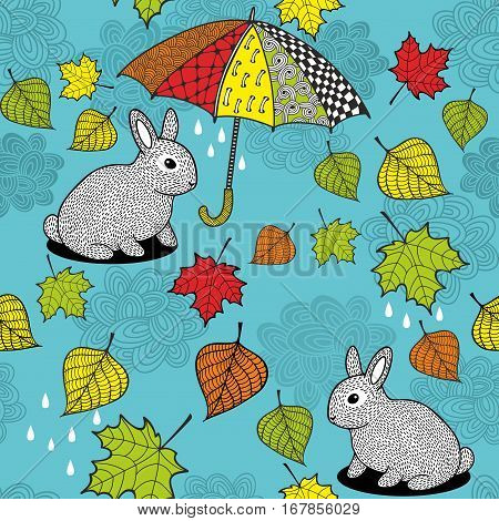 Seamless pattern with rabbit under the umbrella. Endless vector background.