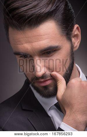 Young Man Face Head Closeup Elegant Suit Hand Beard