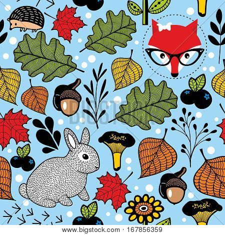 Seamless pattern with cute fox and small hare in the forest. Vector colorful background.