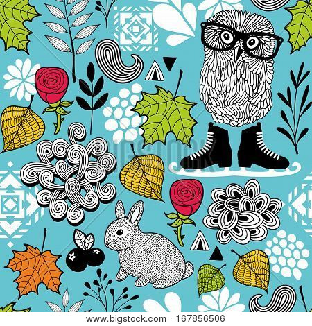 Endless pattern with forest birds and animals. Floral background in vector.
