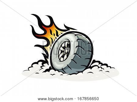 Car wheel with burning fire. Vector illustration for Tattoo. Isolated white background. Speed racing. Automobile part. Extreme sport