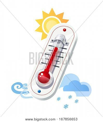 Thermometer show temperature and weather icons. Sun. Wind. Snow. Cloud synoptics meteorology symbol. Vector illustration. Isolated white background.