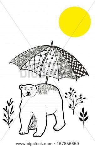 Polar bear on the vacation. Vector illustration.