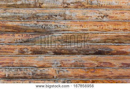 Texture of wall made of wooden logs. Antique wooden wall made of logs.