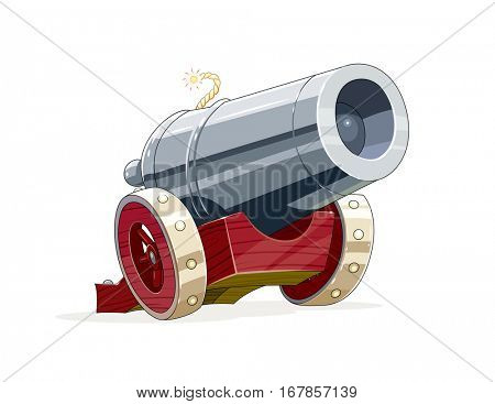 Big vintage gun with core. Cartoon Antique artillery weapon on wooden wheel for army forces. Vector illustration. Isolated white background