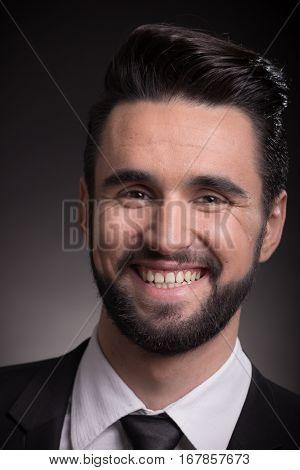 Young Man Smiling Head Face Closeup