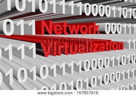 Network virtualization in the form of binary code, 3D illustration