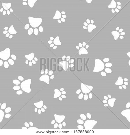 Vector illustration of a seamless pattern of white wild animal paws on a gray background.