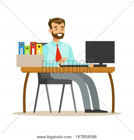 Man Working At His Desk With Computer And Folders, Part Of Office Workers Series Of Cartoon Characters In Official Clothing. Happy Person Working In The Office Vector Illustration.