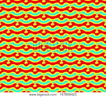 Abstract seamless triangles with lines and waves of blue and yellow and red colors are laid out in rows and form a continuous pattern