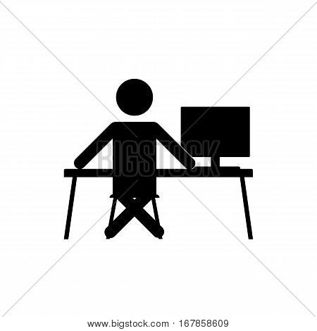 Businessman sitting on chair at table and working on computer. Vector silhouette. Man typing in office at desk and staring into monitor