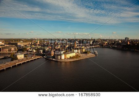 Aerial view of the old town (Gamla Stan) of Stockholm Sweden