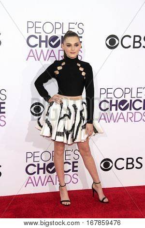LOS ANGELES - JAN 18:  Meg Donnelly at the People's Choice Awards 2017 at Microsoft Theater on January 18, 2017 in Los Angeles, CA