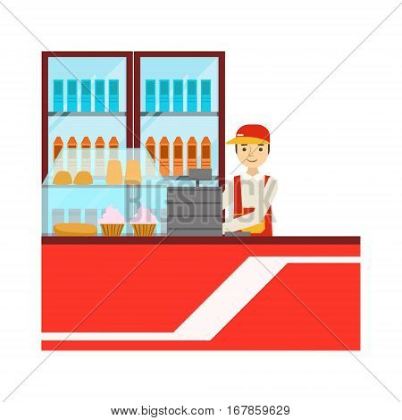 Worker In Red Uniform With Fridge With Drinks Assortment, Smiling Person Having A Dessert In Sweet Pastry Cafe Vector Illustration. Happy Primitive Cartoon Character At Bakery Shop At Lunchtime.