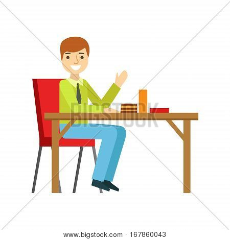 Man Alone At The Table Eating Cake, Smiling Person Having A Dessert In Sweet Pastry Cafe Vector Illustration. Happy Primitive Cartoon Character At Bakery Shop At Lunchtime.