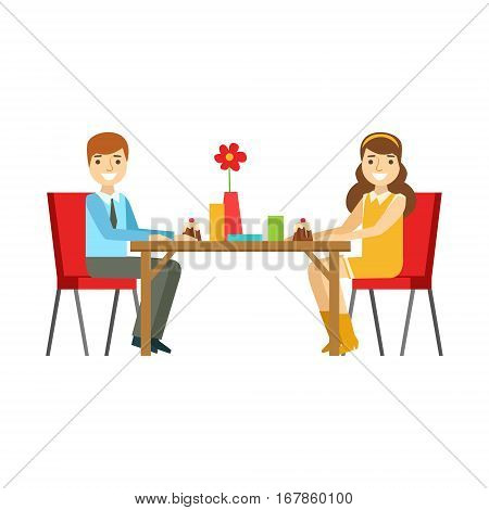 Young Couple On A Date Eating Cakes, Smiling Person Having A Dessert In Sweet Pastry Cafe Vector Illustration. Happy Primitive Cartoon Character At Bakery Shop At Lunchtime.