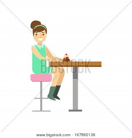 Young Woman Eating Cupcake Alone, Smiling Person Having A Dessert In Sweet Pastry Cafe Vector Illustration. Happy Primitive Cartoon Character At Bakery Shop At Lunchtime.