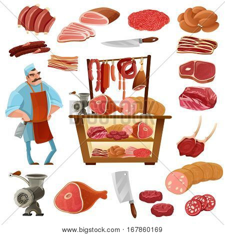 Butcher cartoon set with meat sausage and knife isolated vector illustration