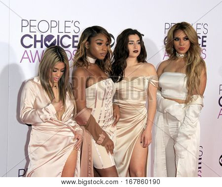LOS ANGELES - JAN 18:  Fifth Harmony, Ally Brooke, Normani Kordei, Lauren Jauregui, Dinah Jane at the People's Choice Awards 2017 at Microsoft Theater on January 18, 2017 in Los Angeles, CA