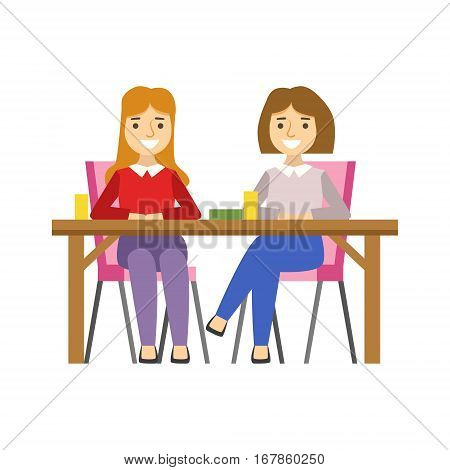 Girlfriends Sitting At The Table, Smiling Person Having A Dessert In Sweet Pastry Cafe Vector Illustration. Happy Primitive Cartoon Character At Bakery Shop At Lunchtime.