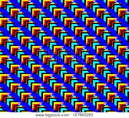 Abstract seamless blue background with lines and triangles, the angles of yellow and red and black lined in rows to form a continuous pattern