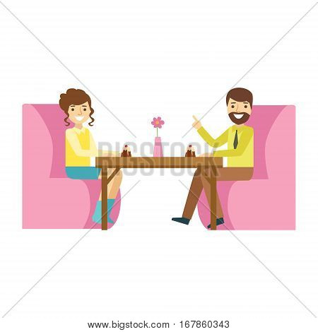 Man And Woman On Romantic Date, Smiling Person Having A Dessert In Sweet Pastry Cafe Vector Illustration. Happy Primitive Cartoon Character At Bakery Shop At Lunchtime.