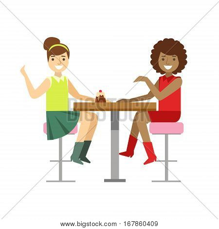 Girlfriends Chatting Sharing A Cake, Smiling Person Having A Dessert In Sweet Pastry Cafe Vector Illustration. Happy Primitive Cartoon Character At Bakery Shop At Lunchtime.