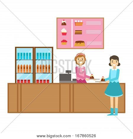 Girl Ordering A Cake At The Counter, Smiling Person Having A Dessert In Sweet Pastry Cafe Vector Illustration. Happy Primitive Cartoon Character At Bakery Shop At Lunchtime.