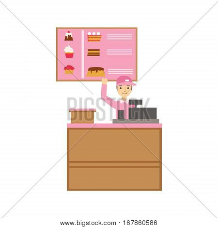 Worker In Pink Uniform With Cash Register And Cake Assortment Menu, Smiling Person Having A Dessert In Sweet Pastry Cafe Vector Illustration. Happy Primitive Cartoon Character At Bakery Shop At Lunchtime.