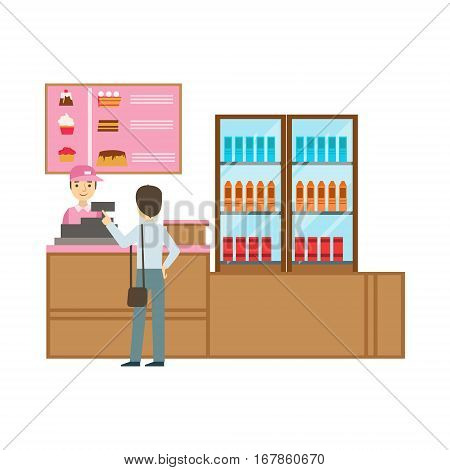 Man Ordering From Cashier In Pink Uniform, Smiling Person Having A Dessert In Sweet Pastry Cafe Vector Illustration. Happy Primitive Cartoon Character At Bakery Shop At Lunchtime.