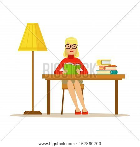 Woman Reading Book At The Desk With The Lamp, Smiling Person In The Library Vector Illustration. Simple Cartoon Drawing With Bookworm People Loving To Read And Study In The Library.