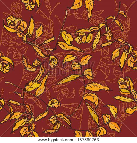 rowan floral seamless pattern Leaves contours Orange on maroon burgundy background hand-drawn. Vector illustration