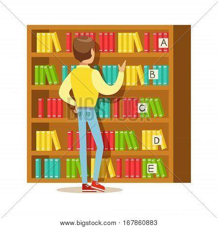 Man Choosing A Book From The Bookshelf, Smiling Person In The Library Vector Illustration. Simple Cartoon Drawing With Bookworm People Loving To Read And Study In The Library.