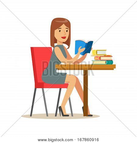 Woman Reading A Book At The Table, Smiling Person In The Library Vector Illustration. Simple Cartoon Drawing With Bookworm People Loving To Read And Study In The Library.