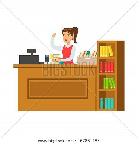 Librarian At Her Workplace With Bookshelves, Smiling Person In The Library Vector Illustration. Simple Cartoon Drawing With Bookworm People Loving To Read And Study In The Library.