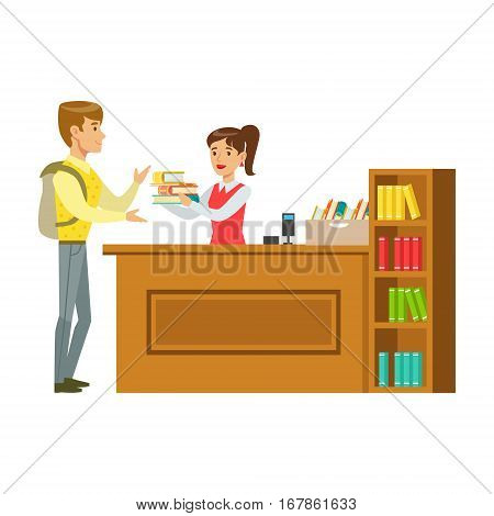 Man Taking The Books Fro The Librarian, Smiling Person In The Library Vector Illustration. Simple Cartoon Drawing With Bookworm People Loving To Read And Study In The Library.