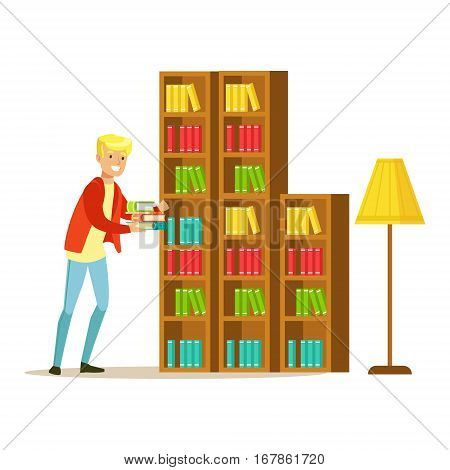 Mn Collecting The Books From The Bookshelf, Smiling Person In The Library Vector Illustration. Simple Cartoon Drawing With Bookworm People Loving To Read And Study In The Library.