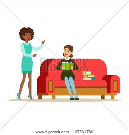 Woman Sitting On Sofa Reading A Book Talking To A Friend, Smiling Person In The Library Vector Illustration. Simple Cartoon Drawing With Bookworm People Loving To Read And Study In The Library.