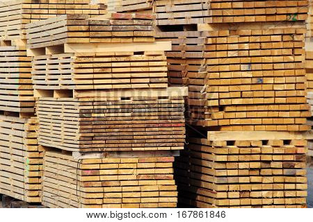 stock of wood lumbers on the factory yard