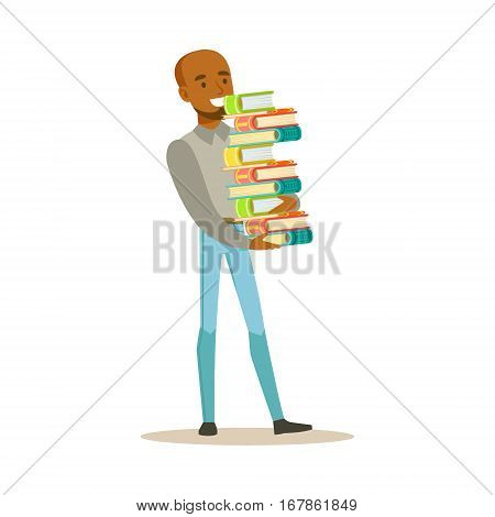Man Carrying Tall Pile Of Books, Smiling Person In The Library Vector Illustration. Simple Cartoon Drawing With Bookworm People Loving To Read And Study In The Library.