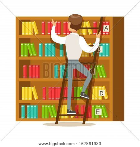 Man With Ladder Searching For A Book On Bookshelf, Smiling Person In The Library Vector Illustration. Simple Cartoon Drawing With Bookworm People Loving To Read And Study In The Library.