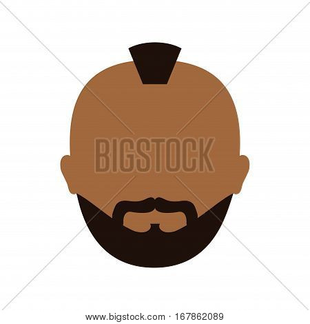 dark skin bearded man with mohawk icon image vector illustration design