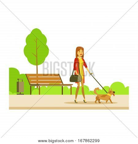 Woman Walking The Pet Dog On The Leash, Part Of People In The Park Activities Series. Smiling Characters Outdoors Pastime Bright Illustration With Green Scenery On Background.
