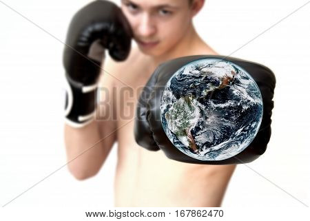 Boxer shot shows the globe showing aggression elements furnished by NASA.