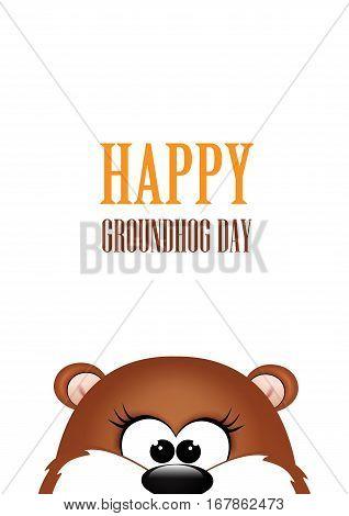 Groundhog day. Marmot on white background. Vector
