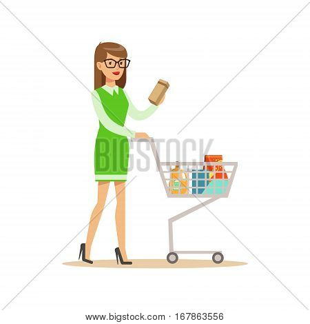 Woman In Green Dress With Cart Shopping In Department Store , Cartoon Character Buying Things In The Shop. Colorful Vector Illustration With Happy People In Supermarket.