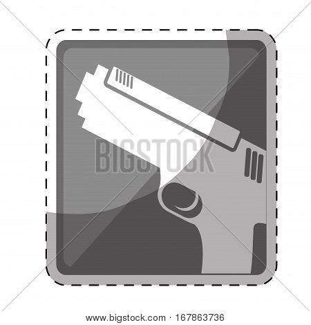 single hand gun button icon image vector illustration design