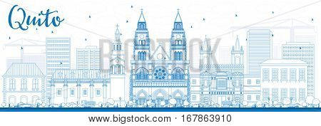 Outline Quito Skyline with Blue Buildings. Business Travel and Tourism Concept with Historic Architecture. Image for Presentation Banner Placard and Web Site.