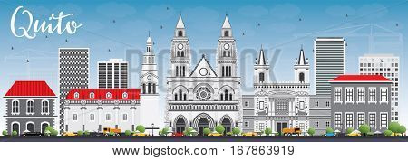 Quito Skyline with Gray Buildings and Blue Sky. Business Travel and Tourism Concept with Historic Architecture. Image for Presentation Banner Placard and Web Site.