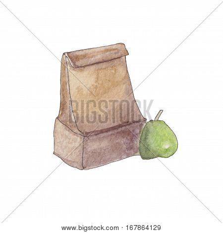 Watercolor Craft Paper Package with green pear. Lunch bag Illustration ready for your design